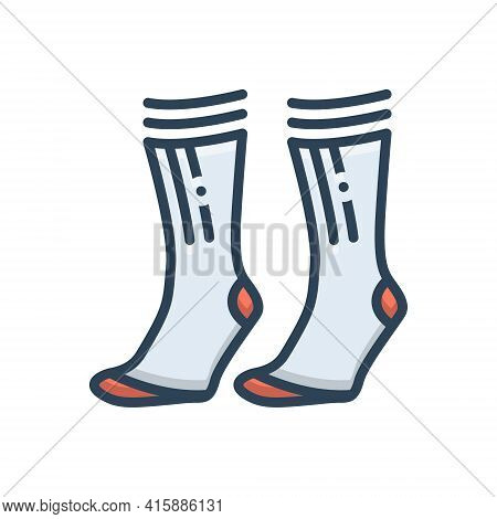 Color Illustration Icon For Socks Pair Comfortable Garment Foot