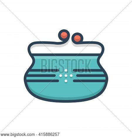 Color Illustration Icon For Purse Woman-purse  Fashion Accessory   Wallet  Pouch