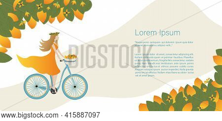 Sunny Fruits, Lemons, Oranges Concept. Beautiful Girl Rides A Bicycle With A Basket Of Lemons. Banne