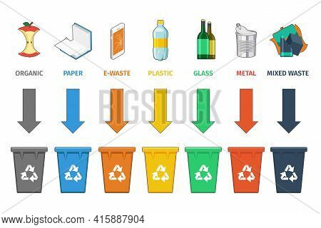 Recycling Bins Separation. Waste Management Vector Concept. Trash And Waste, Sign Concept Garbage, C