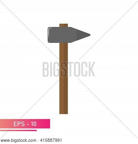 A Sledgehammer With A Sharp Nose On One Side And A Wooden Handle. Realistic Design. On A White Backg