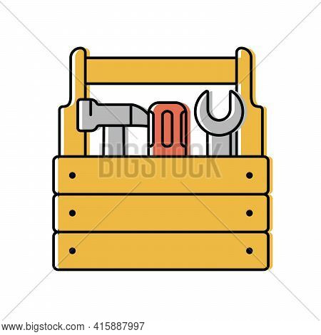 Locksmith Tools In A Wooden Box. Vector Icon In Flat Style