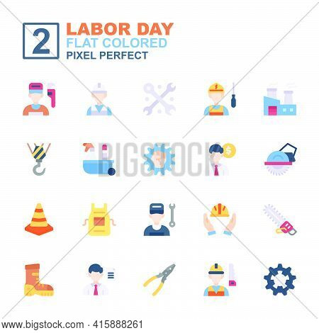 Icon Set Labor Day Made With Flat Color Technique, Contains A Labor Day, Helmet, Labor Man And Woman