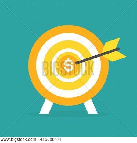 Golden Archery Target With Arrow And Dollar Coin In Center On Blue Background. Dartboard Vector Illu