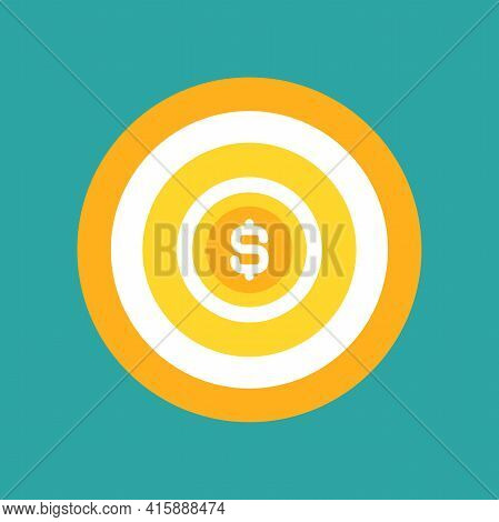 Golden Archery Target With Dollar Coin In Center On Blue Background. Dartboard Vector Illustration.