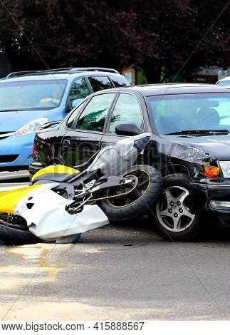 Car And Motorcycle Accident Caused By A Drunk Driver.