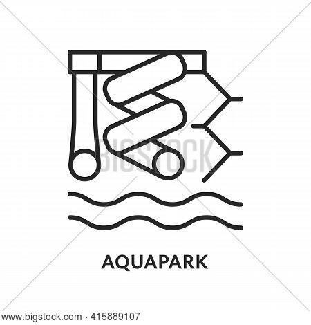 Aquapark Flat Line Icon. Vector Illustration Water Park. Funny Kid Slide