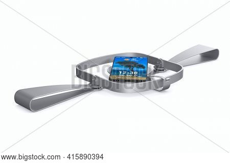 bear trap and phone on white background. Isolated 3D illustration