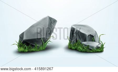 Rocks Parts And Stones With Cracked Texture In Grass. Vector Realistic Set Of 3d Granite Boulders On