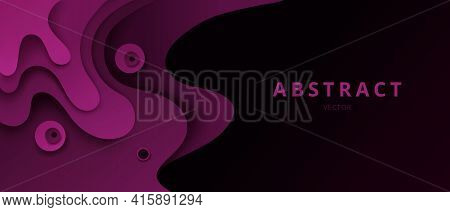 Abstract Paper Cut Vector Background, 3d Effect Design For Banner Or Flyer With Burgundy Or Purple C