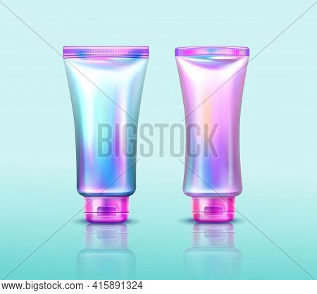 Holographic Cosmetics Package, Iridescent Tubes For Hand Cream, Cosmetic Beauty Product Or Makeup Co