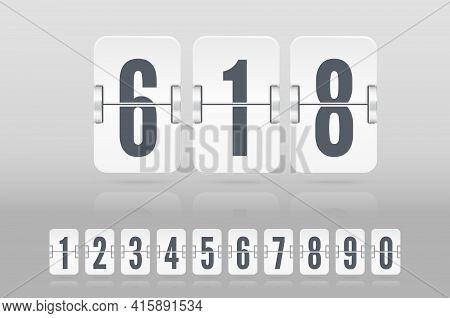 Set Of White Flip Score Board Numbers Floating With Reflection For Countdown Timer Or Calendar. Vect