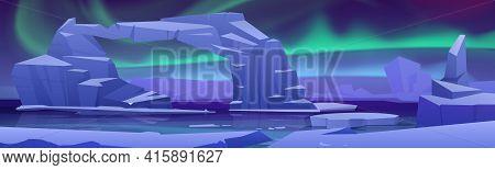 Arctic Aurora Borealis At North Pole Landscape With Ice Glaciers On Frozen Ocean. Arctic Or Polar Li
