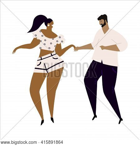 Hand Drawn Vector Illustration Of A Couple Dancing Sexy Fun Bachata Dance. Isolated On White Backgro