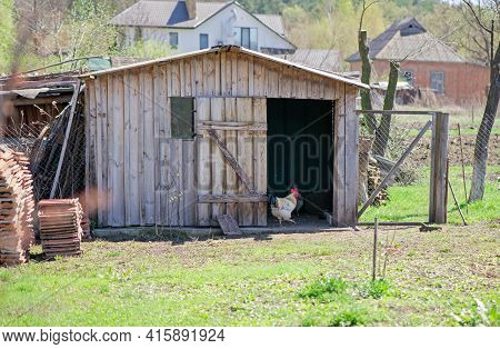 An Old Wooden Chicken Coop In The Mountains In The Spring