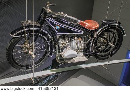 Germany, Munich - April 27, 2011: Bmw R32 Motorcycle In The Exhibition Hall Of The Bmw Museum. It Wa
