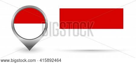 Vector Flag Indonesia. Location Point With Flag Indonesian