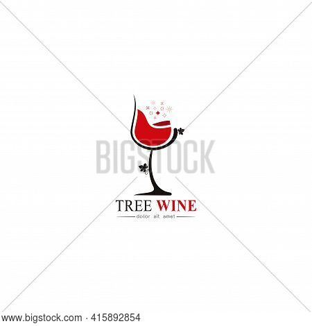 Beautiful Simple Red Wine Design For Logo, Stylized Image Of Wine Logo Template, Wine Logo With Wine
