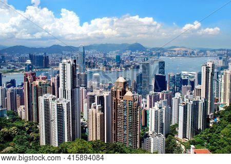 Hong Kong - 22 JUNE 2006: Hong Kong Skyline seen from Victoria Peak