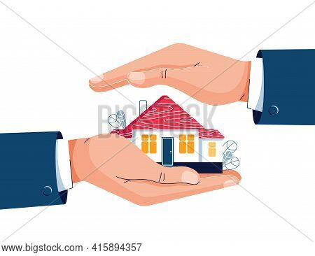 Protect Your Home Vector Illustration. Businessmans Hands Are Covering Property. Real Estate, Housin