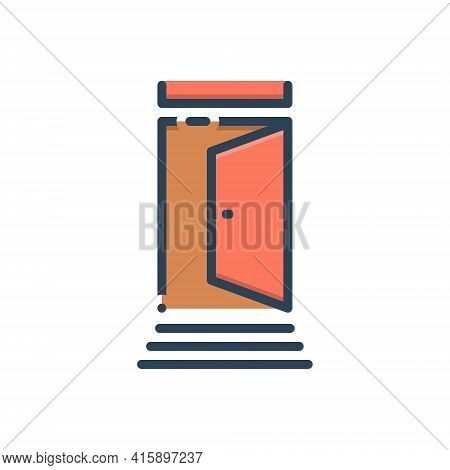 Color Illustration Icon For Door Portal Gateway Inlet Entry