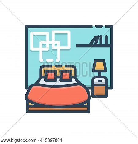 Color Illustration Icon For Bedroom Dorm Dormer Furniture Living-room Sleep