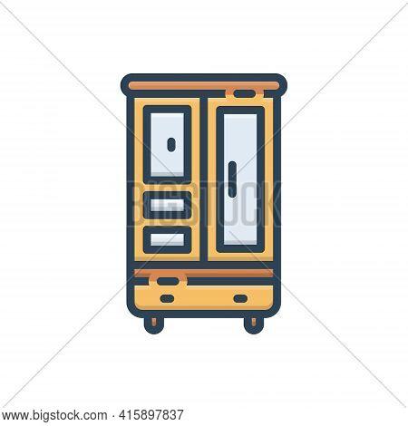 Color Illustration Icon For Cupboard Cabinet Closet Furniture Shelf Wardrobe