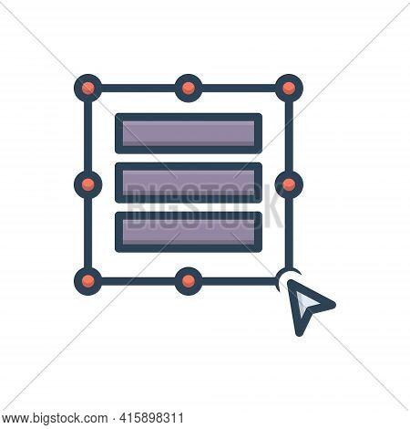 Color Illustration Icon For Auto-size-column Auto Size Column