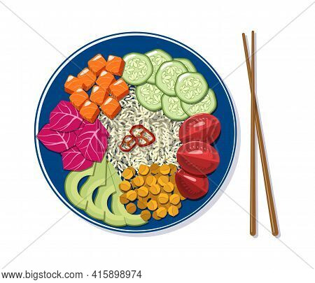 Poke Bowl With Vegetables, Rice And Salmon In Cartoon Style. Top View Of Plate With Asian Food Isola