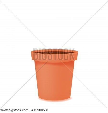 Flower Pot Realistic Empty Terracota Ceramic Or Plastic. Vector Template