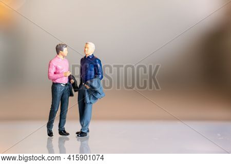 Miniature People , Gay Couple Standing Together And Copy Space For Text
