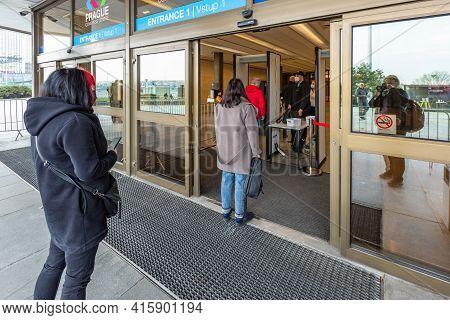 Prague, Czech Republic - March 26 2021: Entrance Into The Building Of The Metropolitan Vaccination C