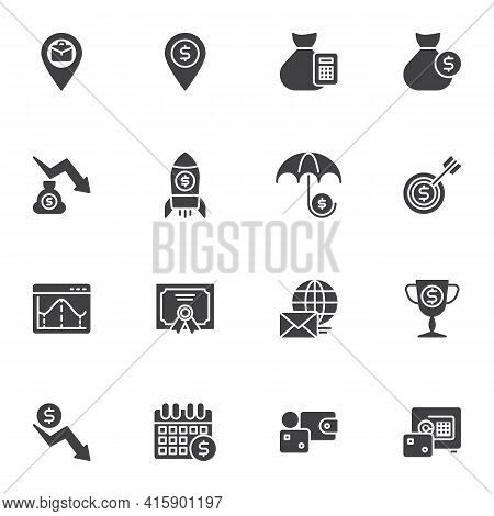 Business Money Vector Icons Set, Modern Solid Symbol Collection, Filled Style Pictogram Pack. Signs,