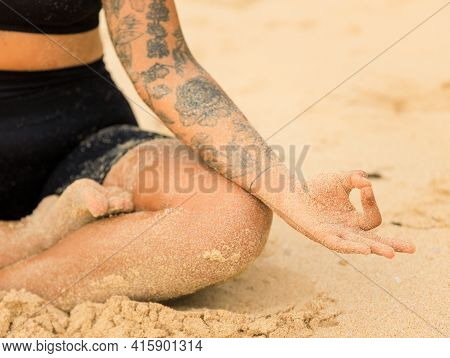 Close Up Gyan Mudra. Half Of Lotus Pose, Padmasana. Focus On Fingers. Yoga At The Beach. Woman Sitti