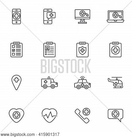 Emergency Medicine Line Icons Set, Outline Vector Symbol Collection, Linear Style Pictogram Pack. Si