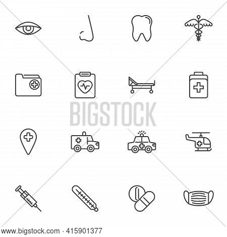 Healthcare And Medical Line Icons Set, Outline Vector Symbol Collection, Linear Style Pictogram Pack