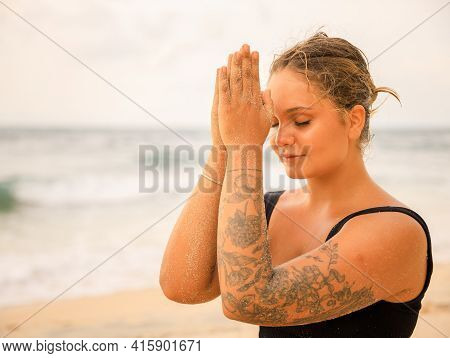Close Up Namaste Mudra. Attractive Caucasian Woman Practicing Yoga And Meditation On The Beach. Hand