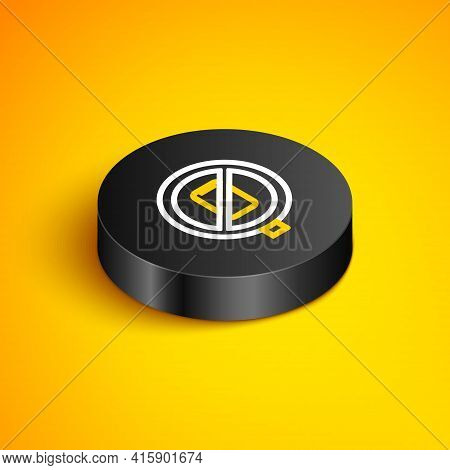 Isometric Line No Cell Phone Icon Isolated On Yellow Background. No Talking And Calling Sign. Cell P