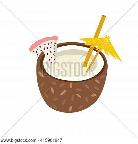 Cartoon Vector Illustration Of A Fresh Tropical Cocktail In Coconut. A Refreshing Beach Drink, Decor