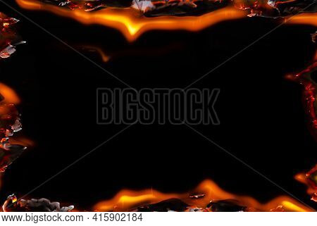 A Frame For Inserting Text With An Empty Space In The Middle And Fiery Bursts Along The Contour. The