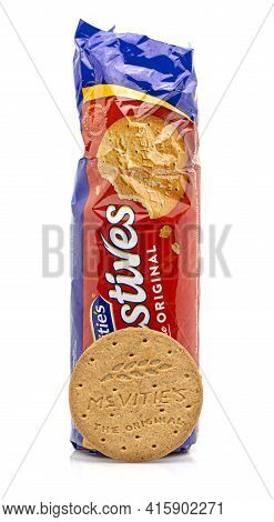 Swindon, Uk - April 5, 2021: Packet Of Mcvities Digestive Biscuits