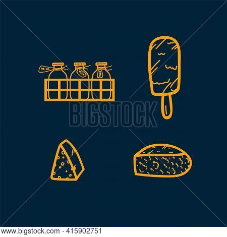 A Set Of Icons With Cheeses And Dairy Products. Hand-drawn Doodle Illustrations. Linear Drawings Of