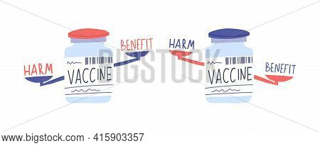 Vaccination Care Harm And Benefit, Vaccine Medication With Scales Concept, Vector Illustration. Prot
