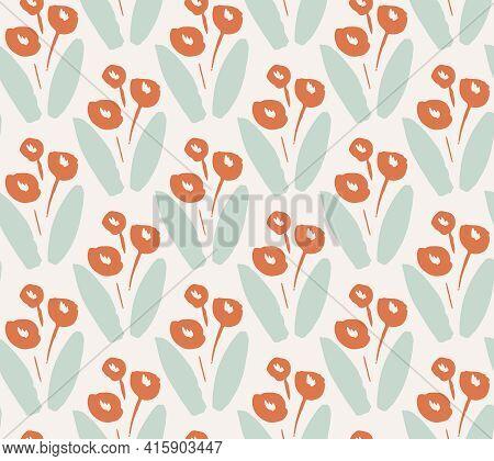 Flower Choir Seamless Vector Pattern. Flowering Plant Repeated In Half Drop Pattern Forming A Symmet