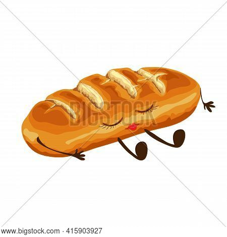 Cute Wheat Loaf Of Bread Character Isolated. Happy And Funny Food Character Vector Illustration. Car