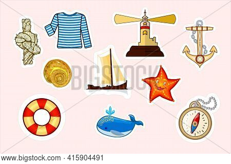 Set Of Nautical Cartoon Stickers. Marine Objects And Symbols Collection. Sailing Label Design Elemen