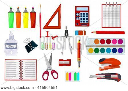 Stationery Supplies Set Isolated On White Background. School Supplies And Items Collection. Study Wo