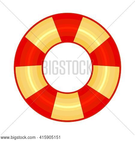 Rubber Or Inflatable Ring Isolated On White Background. Colorful Swim Wheel Icon. Inflatable Float B