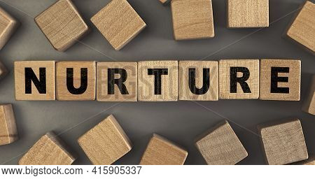 The Word Nurture On Small Wooden Blocks At The Desk. Conceptual Photo. Top View