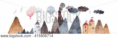 Mountain trail. Mountain landscape with volcano, fortress and balloons. Adventure in the mountains. Balloon flight over the rocks. Horizontal border.